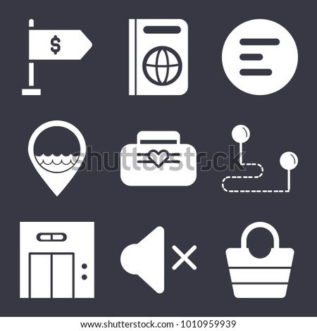 Business filled vector icon set on dark blue background