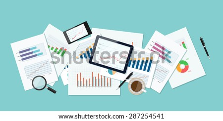 business finance and investment banner and mobile device for business.report paper.graph analyze  background - stock vector