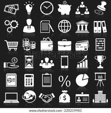 Business, finance and marketing icons. Set of 36 concept symbols with reflection for your design. Collection of white silhouette elements on black background. Vector illustration. - stock vector