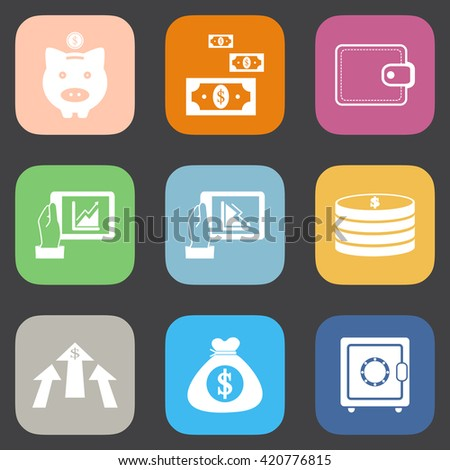 Business finance and money icon set illustration eps10.Flat color style. - stock vector