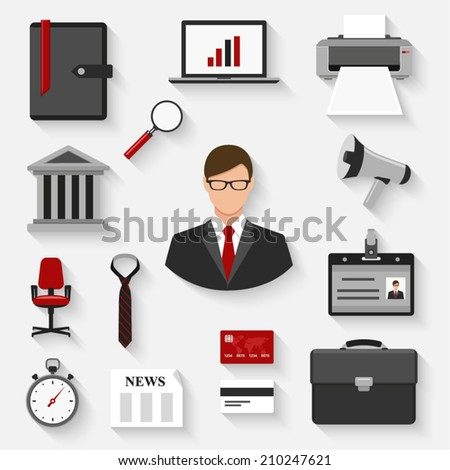 business, finance and office flat style icons set. template elements for web and mobile applications - stock vector