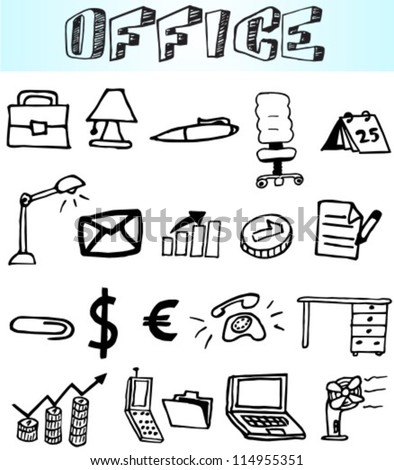 Business - Finance and Office icons collection - vector illustration, hand draw - stock vector