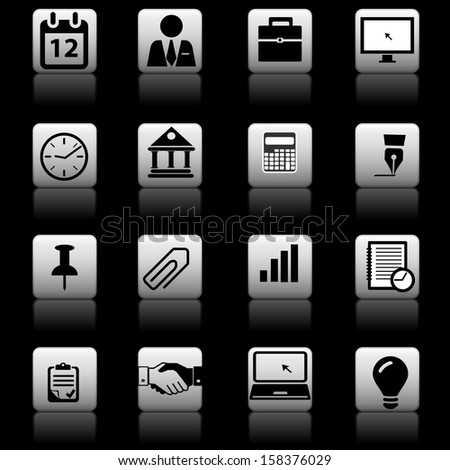 Business finance bank icons set - stock vector