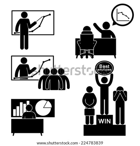 Business Finance Chart and Employee Figure Pictogram Icon  - stock vector