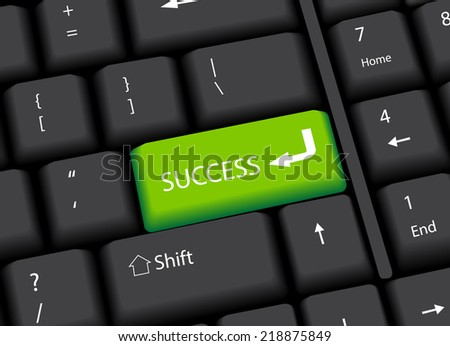 Business finance concept: computer keyboard with and word Success, selected focus on enter button. Vector Illustration - stock vector
