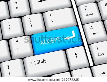 Business finance concept: computer keyboard with word Accept, selected focus on enter button. vector illustration