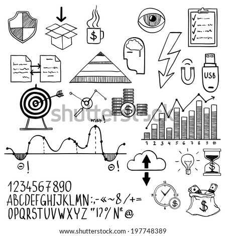 business finance doodle hand drawn elements with alphabet. Concept - analytics, work, marketing, strategy - stock vector