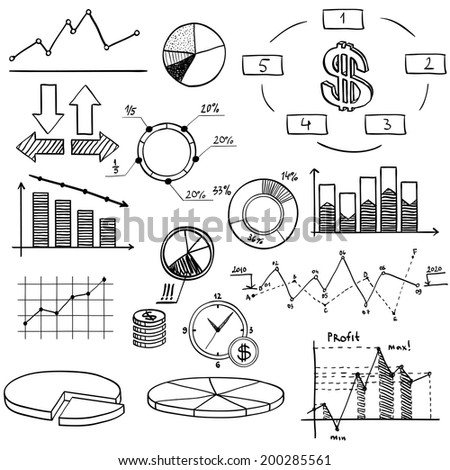 business finance doodle hand drawn elements with alphabet on blue background. Concept - analytics, work, marketing, strategy - stock vector