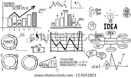 Business finance elements. Hand-drawn - stock vector