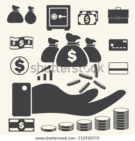 Business finance icons set, Money and Credit icons - stock vector