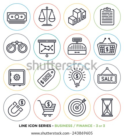 Business & finance line icons set. Vector collection of money symbols & accounting equipments. - stock vector