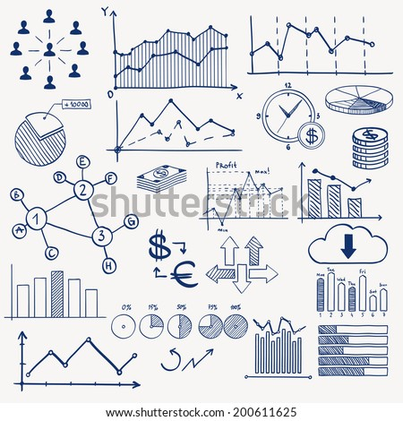 Business finance management infographics doodle hand draw elements. Concept - graph, chart, pie, arrows, signs social media, earning money - stock vector