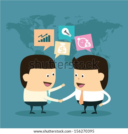 Business finance marketing and Investment with Businessman hand shake concept idea - stock vector