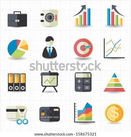 Business finance money graph chart icons - stock vector