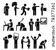 Business Finance Office Workplace People Man Working Icon Symbol Sign - stock