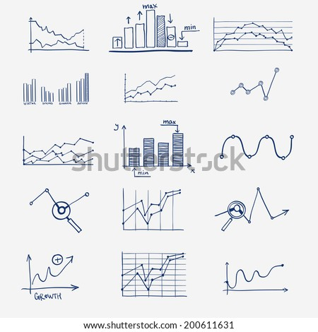 business finance statistics infographics doodle hand drawn elements. Concept - graph, chart, arrows signs, search earnings money profit - stock vector