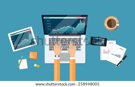 business financial investment  and money graph report on device - stock vector