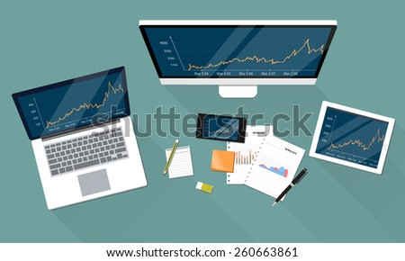 business financial investment and report graph on electronic device work space  - stock vector