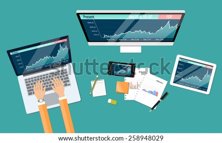 business financial investment work space and money graph report - stock vector