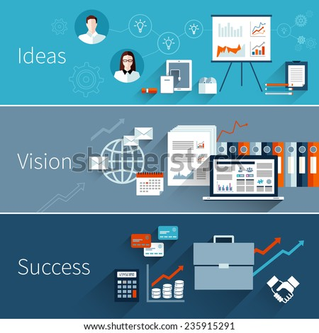 Business flat banner set with ideas vision success isolated vector illustration - stock vector