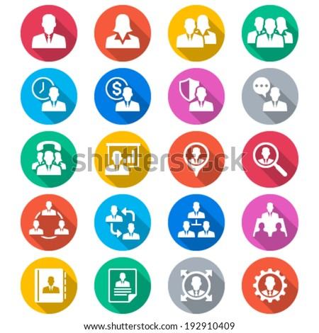 Business flat color icons - stock vector