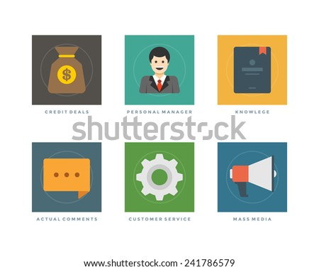 Business flat design icons, Credit Deals, Personal Manager, Knowlege, Actual Comments, Customer Service, Mass Media. Vector illustration for website and promotion banners. - stock vector