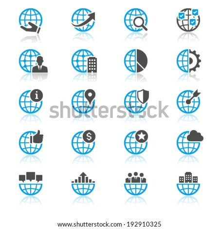 Business flat with reflection icons - stock vector
