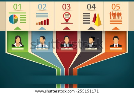 Business flow chart vector infographic template showing team members or management with designated fields of expertise cooperating and working in unity to an outgoing arrow - stock vector