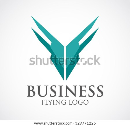 Business fly of double wings abstract vector and logo design or template feather icon of company identity symbol concept - stock vector