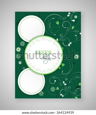 Business flyer, brochure template or corporate banner with floral pattern and round text box/design with place for your content or creative editing. - stock vector