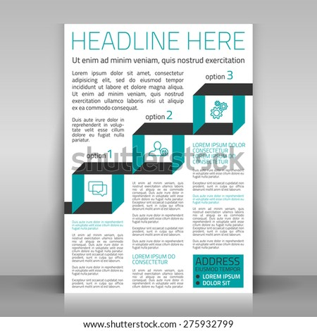 Business flyer design with infographics - 3 options (icons: exchange opinions, service, coherence). Vector template. - stock vector