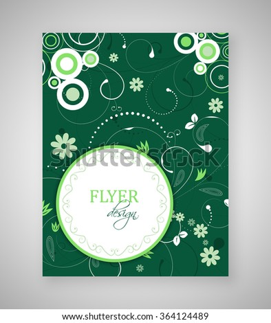 Business flyer or cover design with abstract floral pattern and round text box.