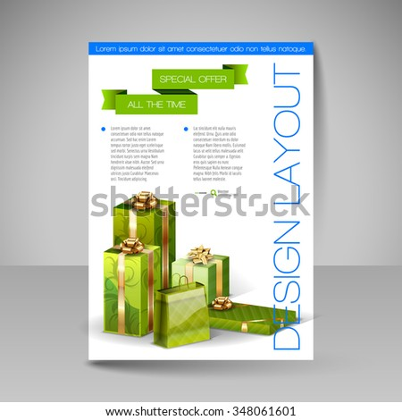 Business flyer template with green Christmas gifts. Vector design elements. - stock vector
