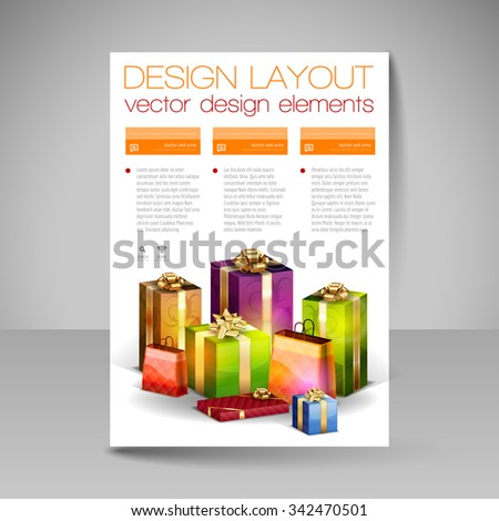 Business flyer template with orange Christmas gifts. Vector design elements. - stock vector