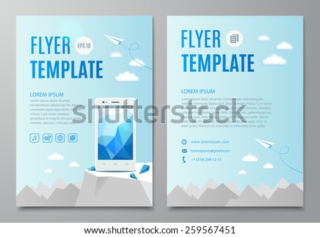 Business Flyer Template, With Smartphone. Vector illustration - stock vector