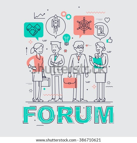 Business forum event flat line concept background. Ideal for posters, website banners and flyers. Linear concept design on business forum, congress, discussion, conference or meeting - stock vector
