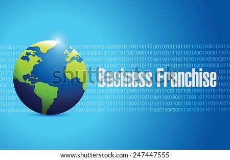 business franchise globe illustration design over a blue binary background - stock vector