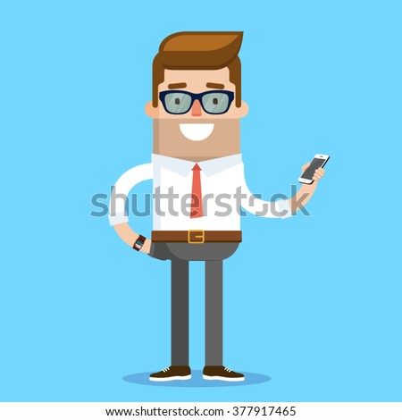 Business Geek Character Design. Vector Illustration - stock vector