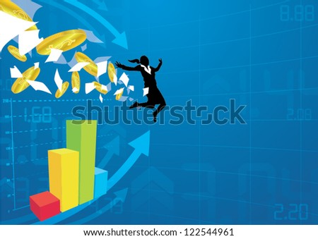 business girl  jump over  financial charts with money and papers - stock vector