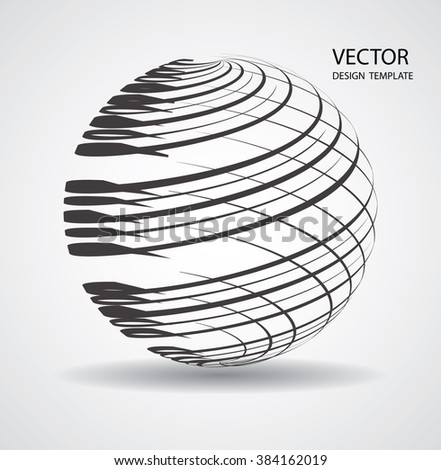 Business Globe with brush strokes. Technology Futuristic Globe.