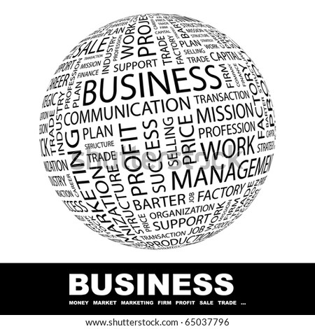 BUSINESS. Globe with different association terms. - stock vector