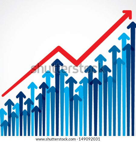 business graph design with arrow stock vector - stock vector