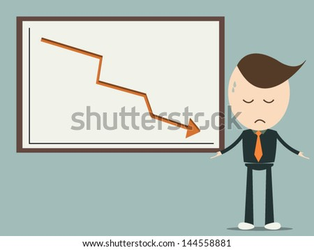 Business graph downwards , vector format eps10 - stock vector