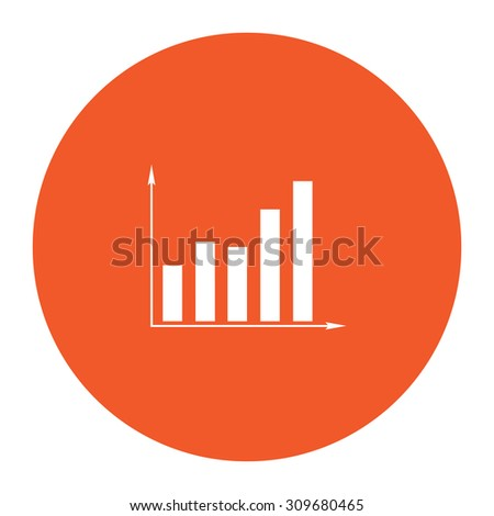 Business graph. Flat white symbol in the orange circle. Vector illustration icon - stock vector