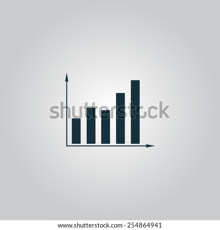 Business graph icon. Flat web icon, sign or button isolated on grey background.  - stock vector