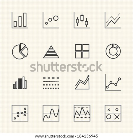 Business Graph icon set. Thin Line icons - stock vector