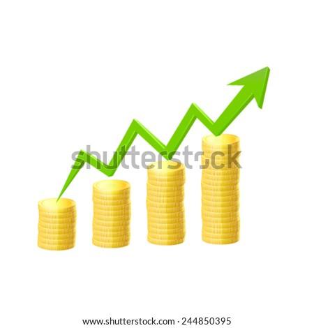 Business graph icon. Vector - stock vector