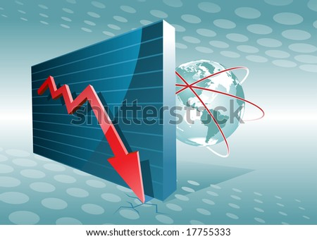 business graph moving down. crisis. - stock vector