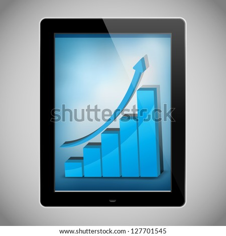 Business graph on a tablet  isolated on white background