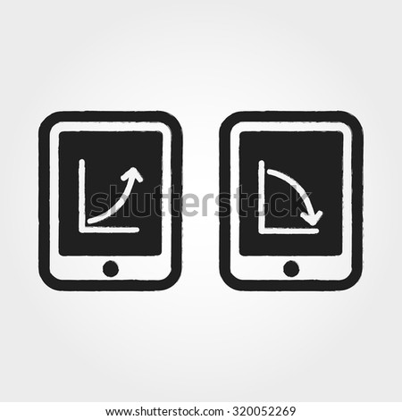 business graph on tablet - stock vector